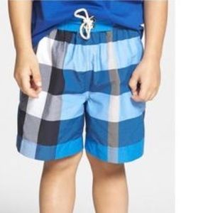 1f389463d5adf Burberry Swim - Burberry Check Swim Trunks, Cerulean Blue, 12Y